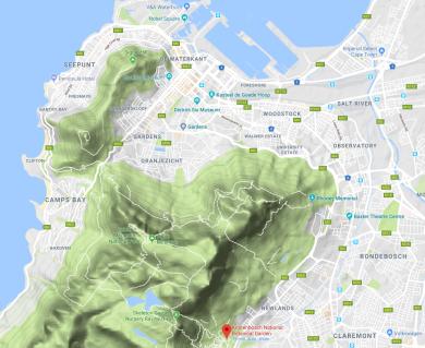Kirstenbosch botanical gardens kaart